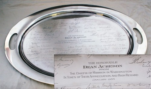 Silver Tray Engraved with Signatures