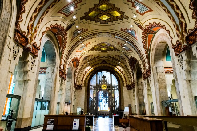 inside the vibrant lobby of the Guardian Building