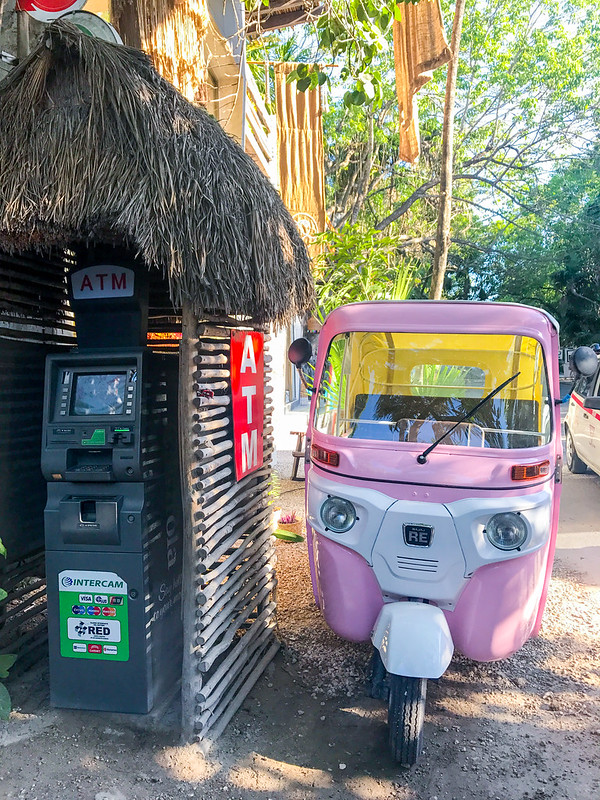 ATM and Bajaj RE Three Wheeler in Tulum
