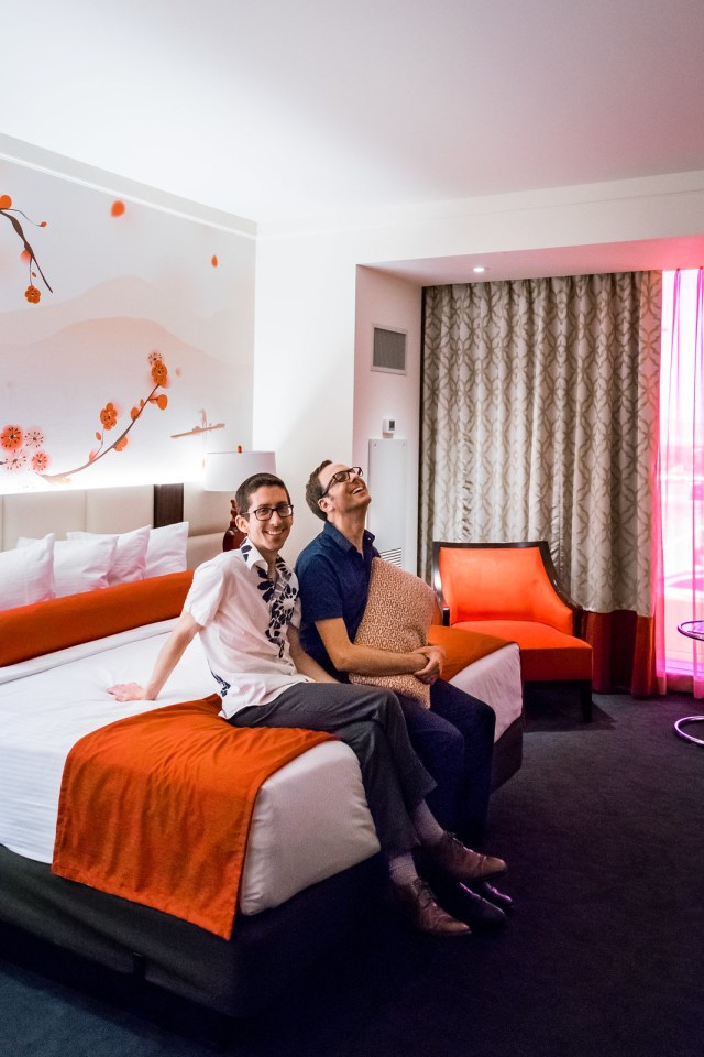 each room is accented with red decor and cherry blossoms