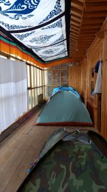 Sleeping in a tent :)