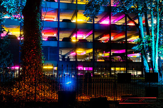 Multicolored parking garage