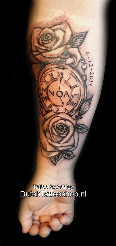 Arm Onderarm Tattoo Noa Roos Rose Clock Klok Name Naam
