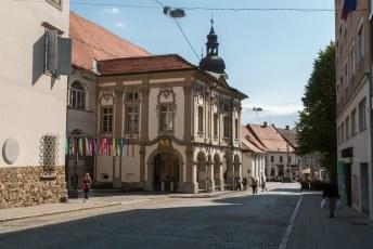 Links het Maribor Kasteel en op de achtergrond een kolom met een vlam erop als gedenkteken aan de vele branden die woedden in de stad.