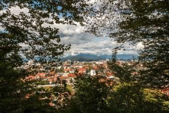 Op weg naar boven zag ik in de verte al de hoogste pieken van de Sloveense Alpen.