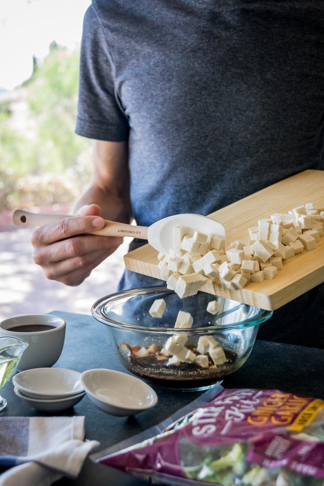 diced tofu absorbs the marinade better than large pieces