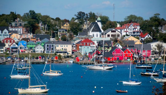 busy harbour at Lunenburg with colorful colonial buildings, Canada