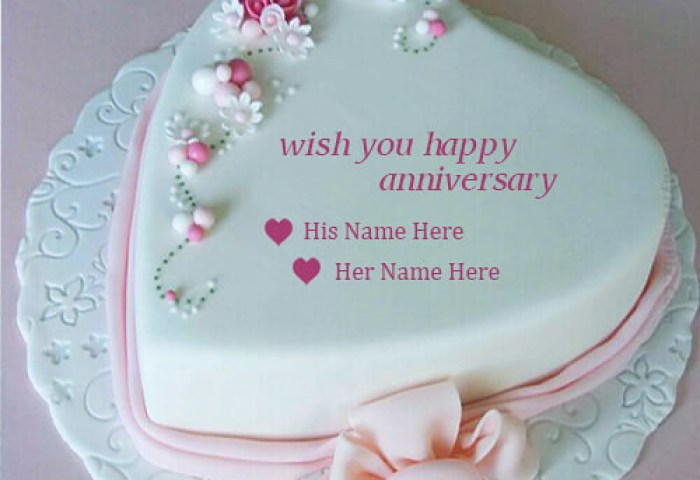 Write Couple Name On Beautiful Pink Heart Anniversary Cake Flickr