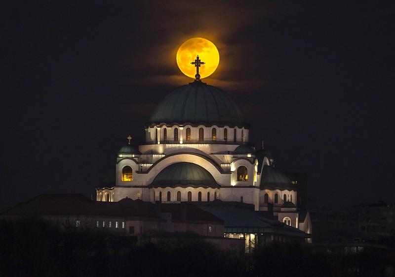 Supermoon over Saint Sava Temple