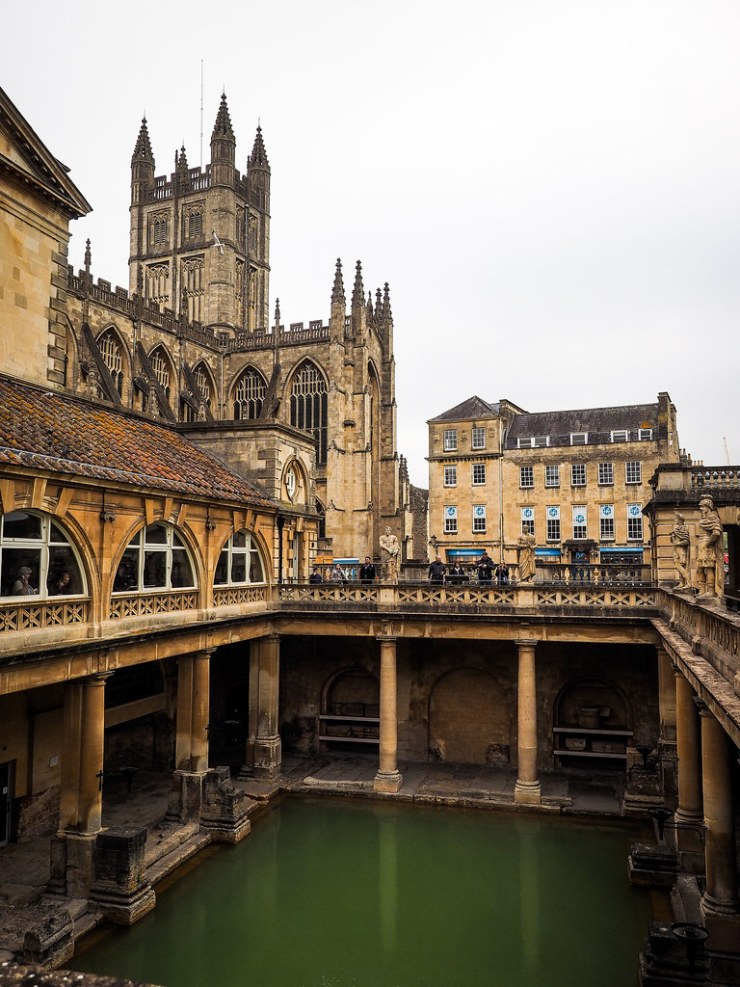 A day in Bath, England would not be complete without a visit to the ancient Roman Baths. #Bath #England #Roman #Britain #Daytrip