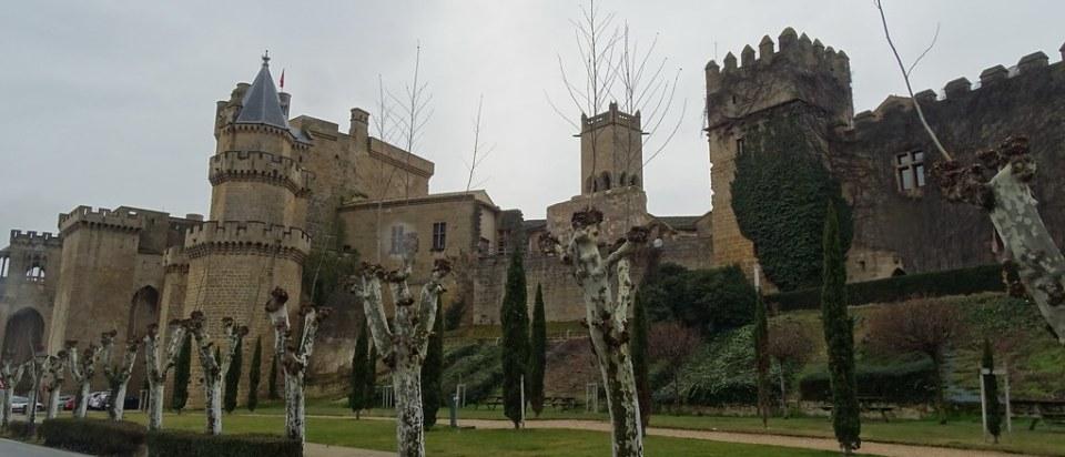 vista desde Paseo de Ronda del Castillo La Muralla y Palacio Real o Castillo de Olite Navarra 04