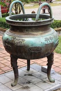 Bullet holes in water vessel, Imperial City, Hue