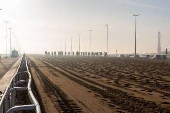 Het eerste stuk de zon tegemoet. Links en rechts van de baan rijden de eigenaren en camerawagens mee.