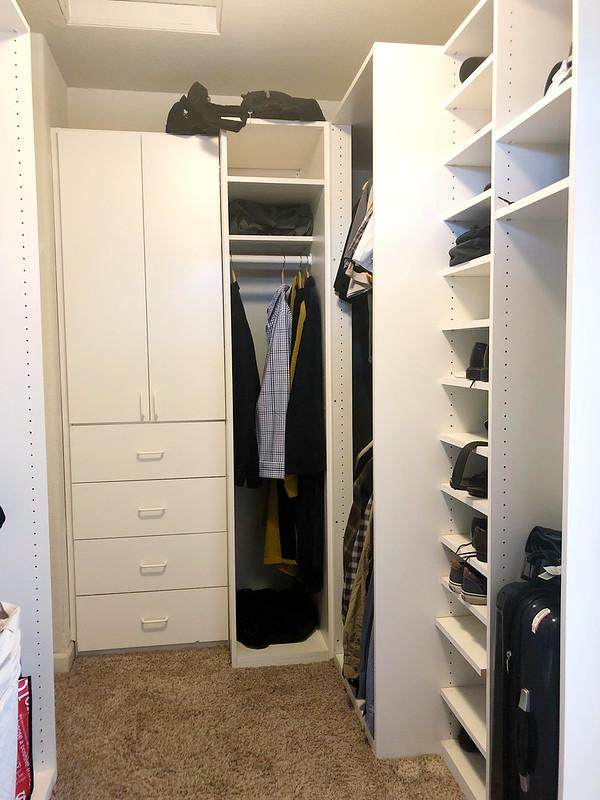 Back of the closet where Joshua's stuff is