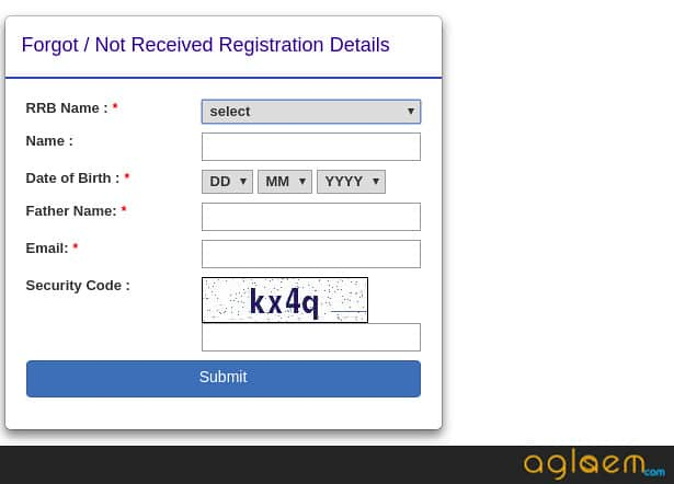 RRB JE FORGOT REGISTRATION ID WINDOW