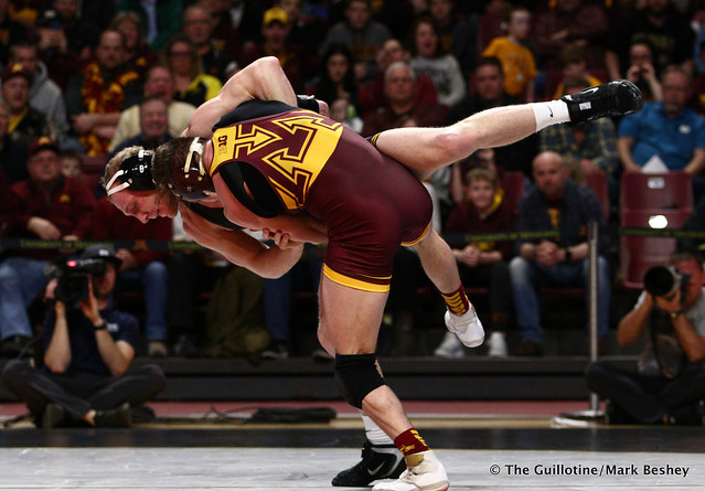 157 #5 Kaleb Young (Iowa) dec. 9 Steve Bleise (Minnesota) 7-1. 190113AMK0015