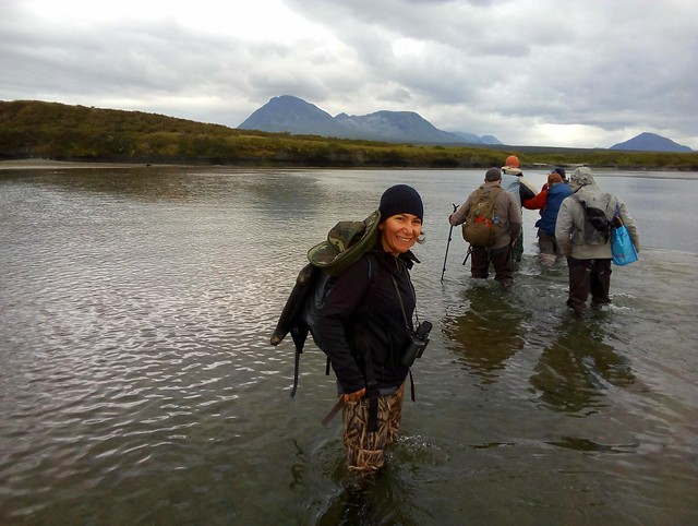 Crossing the tidal mud flats.  Hip waders were always enough.  We did not need chest waders. by bryandkeith on flickr