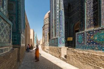 De naam Shah-i-Zinda betekend 'Tombe van de levende Koning', volgens mij een contradictie in terminus.