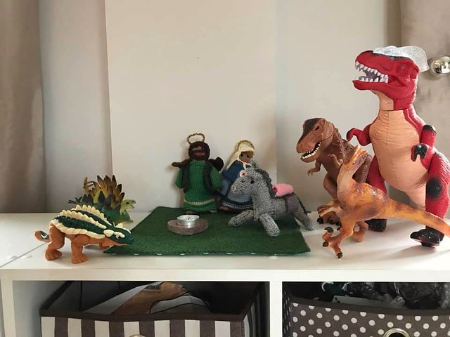 Travelling nativity has just joined us! The dinosaurs invaded though!