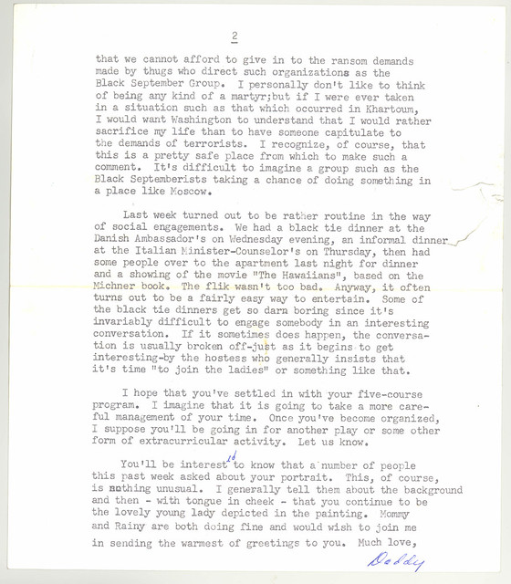 Letter from Ambassador Adolph Dubs to his daughter Lindsay March 3, 1973