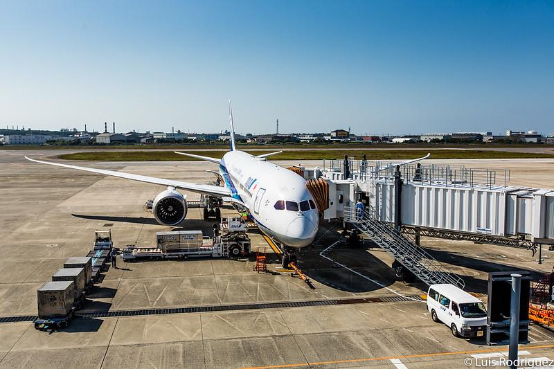 Avión de ANA en el aeropuerto de Matsuyama