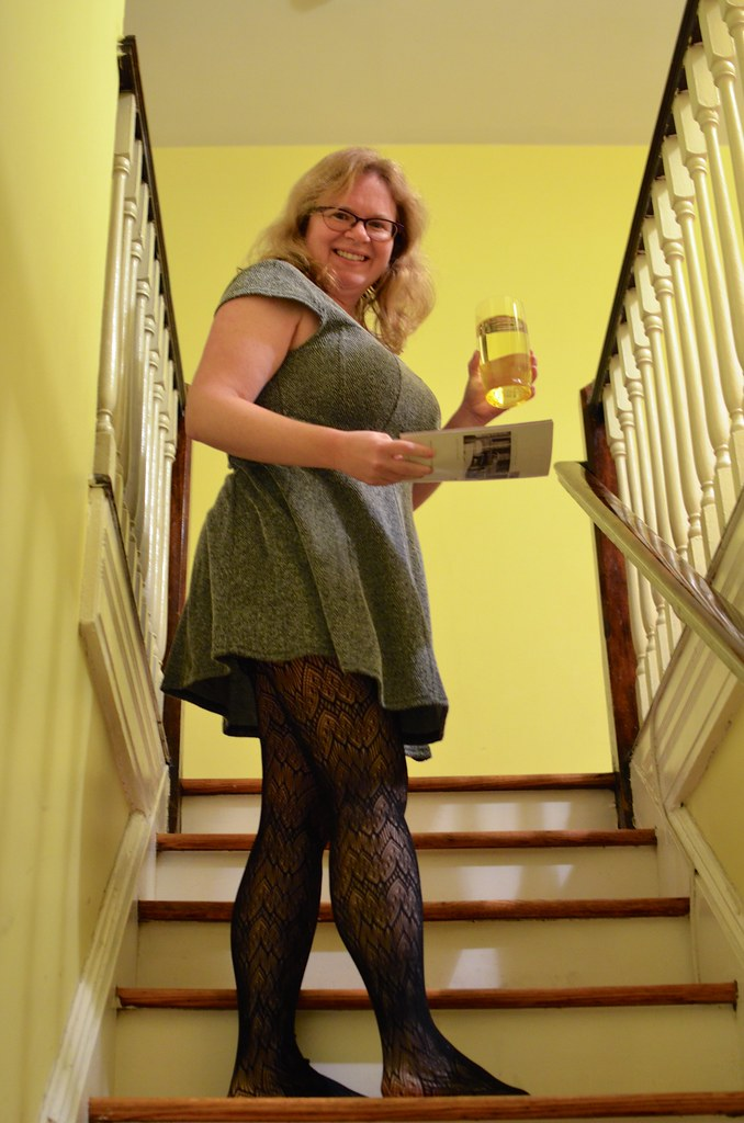 Sue In A Short Skirt And Stockings On The Stairs Joe