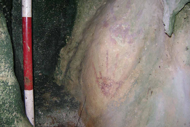 Red Paint Hand Print in Ritidian Cave