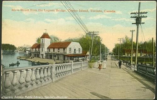 Main Street from Lagoon Bridge, Centre Island, Toronto, Ontario, Canada (1910)