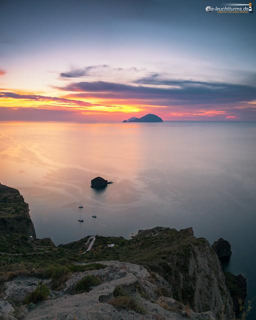 Setting sun behind Aeolian Islands