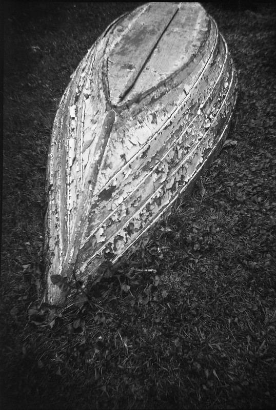 old dory, paint peeling, yard, Rockland, Maine, Brownie Flash Six-20, Ilford FP4+, Ilford Ilfosol 3 Developer, late September, 2016