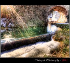 The bridge and the river - HDR - Cuneo - Italy - River Park - Parco Fluviale