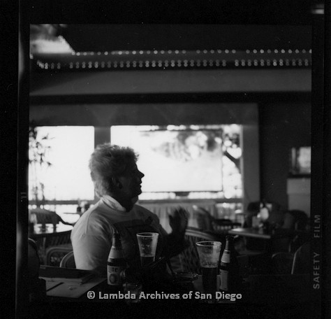 P116.114.06m.r.t San Diego Walks for Life 1987: Susan Jester sitting at table in restaurant