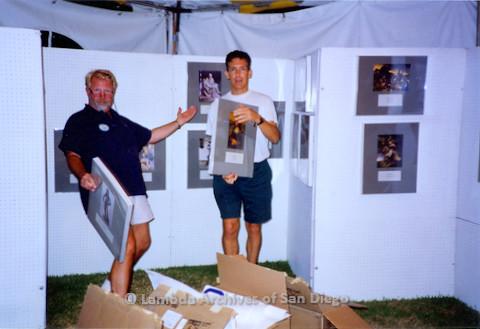 P018.126m.r.t San Diego Pride Festival 1994: Jim Oberle & Frank Nobiletti setting up Lambda Archives booth