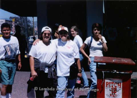 P018.139m.r.t Tijuana Pride Parade 1996: Women posing for picture at parade