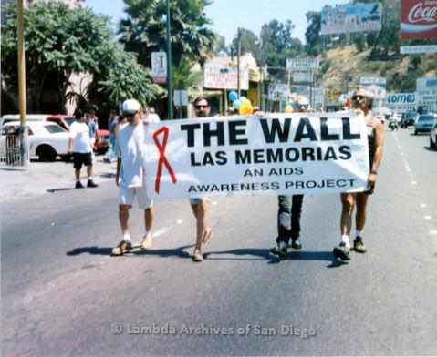 P018.136m.r.t Tijuana Pride Parade 1996: The Wall Las Morias banner