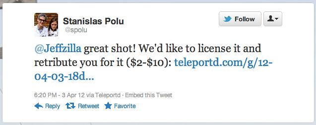 Teleportd tweet