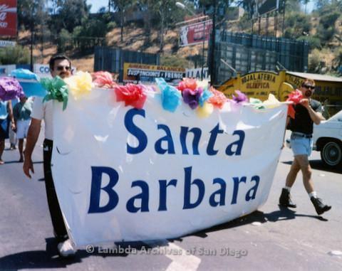 P018.135m.r.t Tijuana Pride Parade 1996: Santa Barbara banner