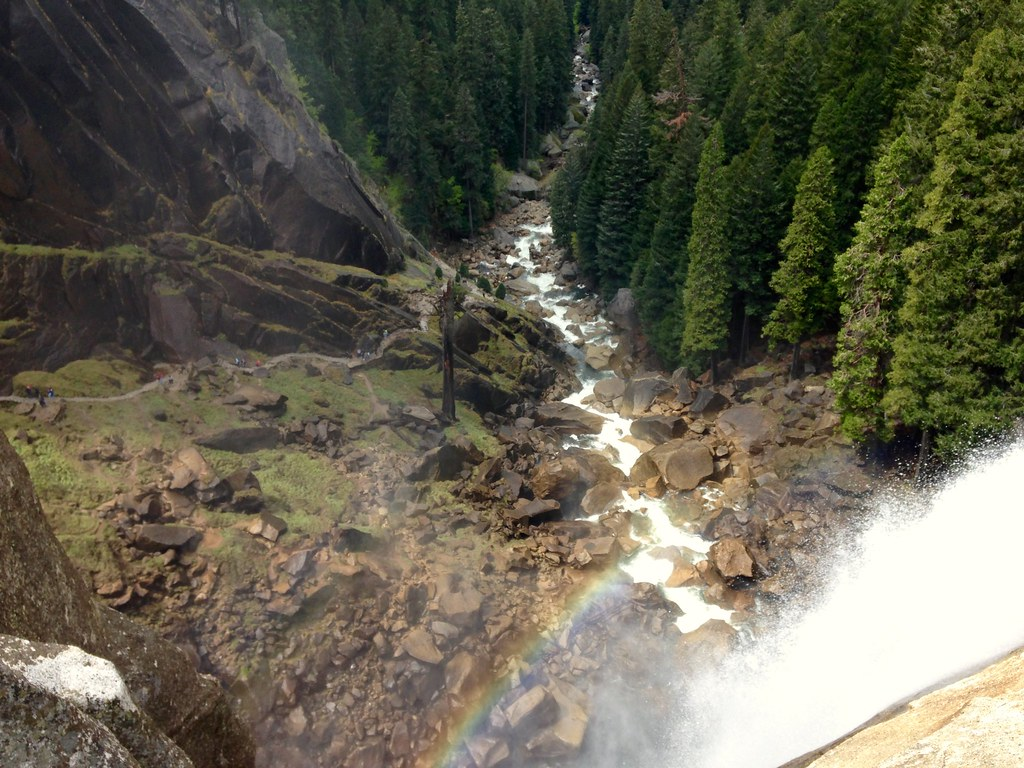 Looking over the top of Vernal Falls to the Mist Trail below