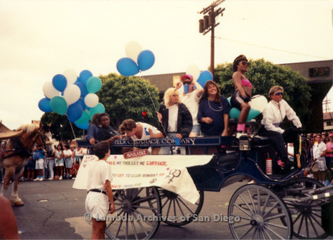P018.096m.r.t San Diego Pride Parade 1991: Cinderella Carriage Company carriage