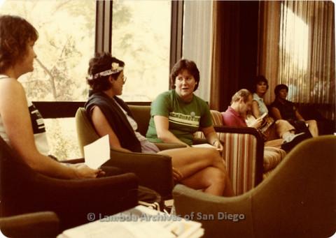 Blood Sisters blood drive, 1983- waiting room inside Blood Bank
