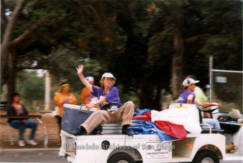P018.145m.r.t San Diego Pride Festival 1998: Volunteers driving supplies
