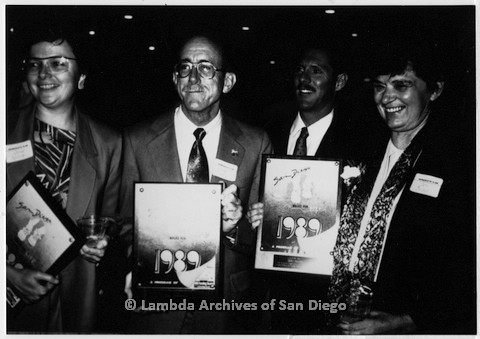 P199.001m.r.t San Diego Walks for Life 1989 event with Christine Kehoe, Jess Jessop, Albert Bell, and Jeri Dilno holding awards