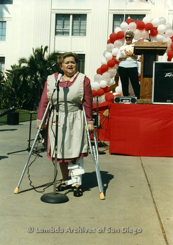 "P012.022m.r.t San Diego Walks for Life 1986: Zelda ""Mother"" Rubenstein speaking at mic"