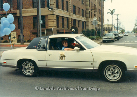 1982 - San Diego Lambda Pride Parade, 'The Loft' Contingent, a Gay bar located in Hillcrest drives the parade route on 6th. avenue.