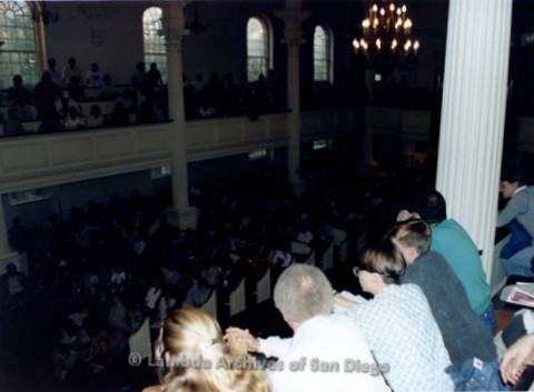 P019.271m.r.t Second March on Washington 1987: Large crowd seated inside church