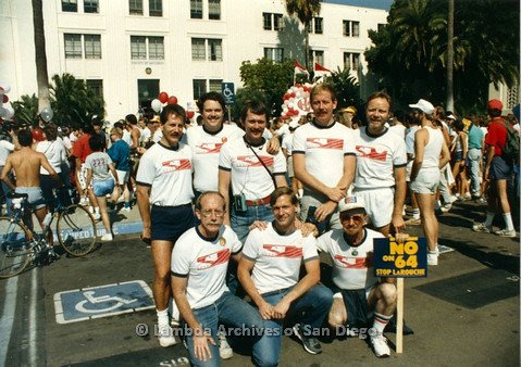 P012.003m.r.t San Diego Walks for Life 1986: Veterans Association Contingent group photo