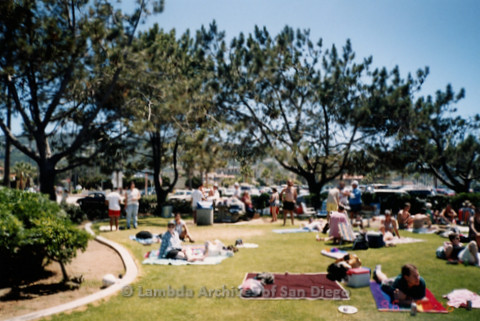 P239.042m.r.t Volunteer Picnic for The Center in La Jolla: View of people and volunteers at picnic