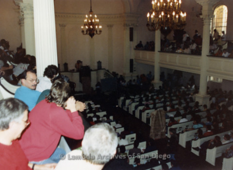 P019.273m.r.t Second March on Washington 1987: Large crowd seated inside a church