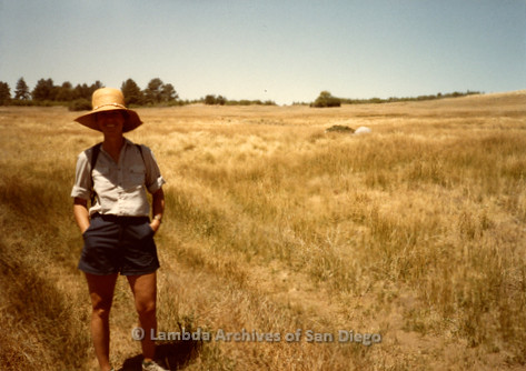 P008.101m.r.t Cuyamaca 1984: Mary Russell in a field