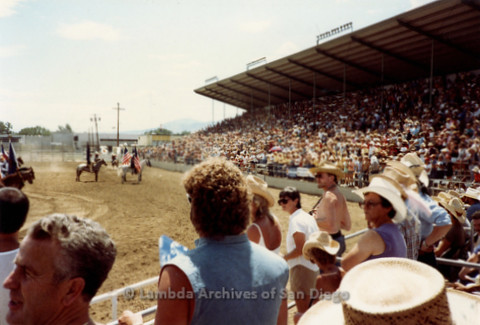 P243.088m.r.t Gay Rodeo in Reno: Audience in grand stands